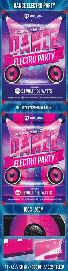 Dance Electro Party Flyer — Photoshop PSD #house #techno • Available here → https://graphicriver.net/item/dance-electro-party-flyer/5430153?ref=pxcr