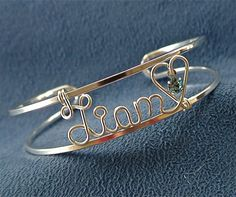 Personalized Wire Name Bracelet/Cuff/Bangle-Sterling Silver-Swarovski Birthstone-Handcrafted Jewelry-Great Gift for Mom, Daughter or Grandma