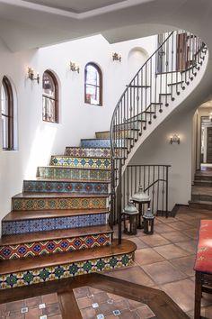 Norman Design Group - Interior Designer - Torrance - Mediterranean - Staircase - Ornate - Colorful - Gorgeous - Tiled Floor - Fresh - Print - Designs - Spiral