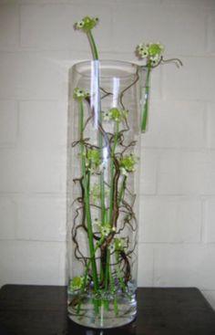 Bloemstuk maken met Ornithogalum in een hoge glazen vaas - bloemschikken met takken van krulwilg en ornithogalum