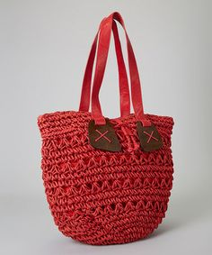 """Loving this Red Circle Straw Tote on #zulily! #zulilyfindscloser pix? 17 W""""x11""""hx 11d, 10"""" handle drop, lined, made of oaoer straw."""