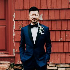 Custom Tuxedo in Midnight Blue | Black Lapel