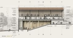 Gallery of First Place in House of Culture Contest of Nuevo Gramalote / Colombia - 22 Plans Architecture, Architecture Graphics, Architecture Drawings, Architecture Details, Layout, Building Section, Architectural Section, Facade Design, Urban Design