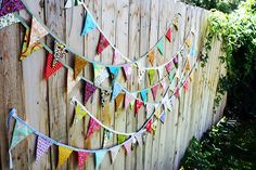 bunting-just cut up triangles from scraps of fabric or other materials and stitch to a ribbon