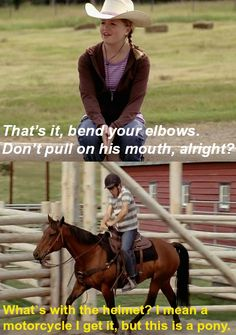Mallory giving Ty riding lessons. (Heartland)