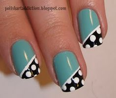 teal and polka dots via Nail Polish Art Addiction