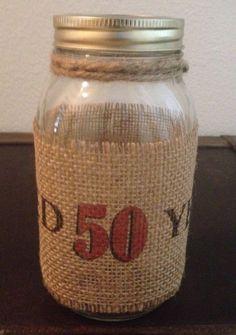 Primitive Natural Burlap Banner Wrap Ball Mason Jar Vintage Dude Aged 50 Years  #Primitive #Handmade #Vintagedude #Birthday