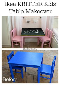 Ikea Kritter Kids Table Makeover #chalkboard #diy #crafts