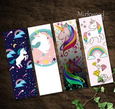 Unicorn Bookmarks Printable Set of 4 Rainbow von MirkwoodScribes
