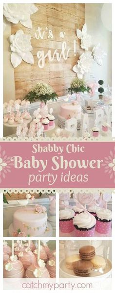Don't miss this pretty shabby chic little girls baby shower. The dessert table is gorgeous!! See more party ideas and share yours at CatchMyParty.com