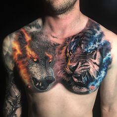 Wolf tattoos are still one of the most popular tattoo ideas for men. Wolf tattoos have many meanings. Some men choose wolf tattoos because they symbolize strength, freedom and the instinct of primitive animals Wolf Tattoos Men, Mens Lion Tattoo, Animal Tattoos, Tiger Tattoos For Men, Tattoo Women, Wolf Tattoo Back, Wolf Tattoo Sleeve, Sleeve Tattoos, Wolf Tattoo Shoulder