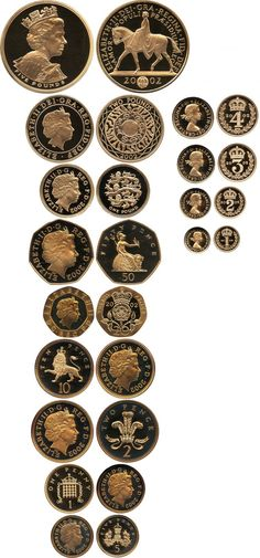 Elizabeth II, gold proof set, five pounds to maundy penny, Golden Jubilee. Foreign Coins, Coin Design, Coin Art, Gold And Silver Coins, Antique Coins, Gold Bullion, World Coins, Coin Jewelry, Rare Coins