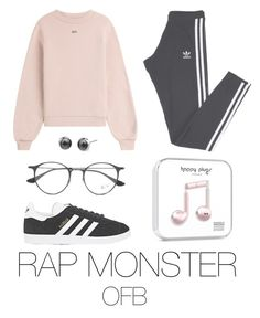 """to the fansing (bts)"" by mazera-kor ❤ liked on Polyvore featuring adidas, Off-White, Ray-Ban, bts, rapmonster and Namjoon"