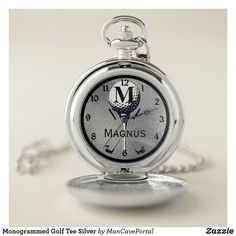 Monogrammed Golf Tee Silver Pocket Watch Personalized Pocket Watch, Silver Pocket Watch, Golf Accessories, Personal Shopping, Make A Gift, Cool Watches, Quartz, Monogram, Pocket Watches