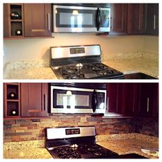 Ledgestone backsplash. Before and after