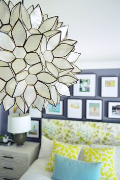 Large lotus pendant.. World Market  Young House Love   It's Electric (Boogie, Woogie, Woogie)   http://www.younghouselove.com