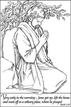 jesus praying coloring page