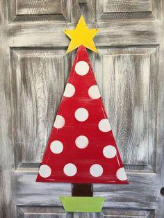 Buy Christmas Tree, Christmas Door, Christmas Ornaments, Wooden Painting, Coat Paint, Colorful Trees, Types Of Doors, Door Hangers, Crafty