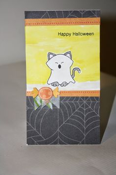 CraftyScrappyness: Happy Halloween Card Card for Inky Paws Challenge 13 at Newton's Nook Designs. Boo Crew Stamp set