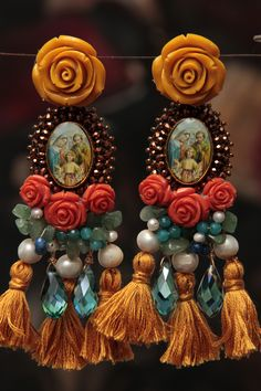 artisanal embroidery earrings, bohemian, boho chic, fashion, roses, tassels, pearls, crystals, religious