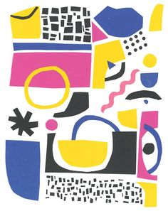 Malwina Marchwicka, peper cut-out, illustration, abstract, poster, pattern, color combination, poster Pop Art Patterns, Cut Out Art, Jazz Poster, Minimalist Artwork, Art Bag, Abstract Shapes, Abstract Print, Surface Pattern Design, Textiles