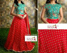 How Pretty is this Lehenga. Kurti Designs Party Wear, Lehenga Designs, Dress Indian Style, Indian Wear, Indian Outfits, Frock Patterns, Crop Top Dress, Long Gown Dress, Kids Lehenga