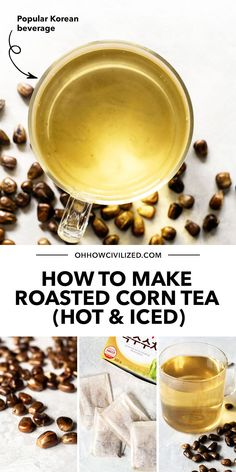 Made from roasted corn kernels, Corn Tea is a traditional Korean beverage that is mild and light, and can be enjoyed hot or cold. Click for my recipe! Afternoon Tea Table Setting, Tea Table Settings, Hot Tea Recipes, Homemade Iced Tea, Caffeine Free Tea, Hibiscus Tea, Roasted Corn, Ginger Tea, Tea Sandwiches