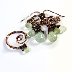 Prehnite Earrings and Ring in Wire Wrapped Copper £35.00