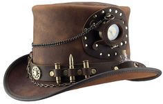 d2c54568007 Steampunk Hatter Brand Time Port Brown Leather Top Hat by Head n Home Hats  Steampunk