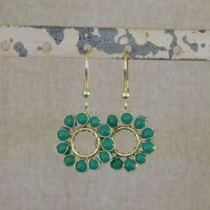 Beaded Sun Earrings - Green