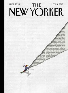 """The text that appears in the skier's wake on the cover of this week's New Yorker? From """"Zuska on the Roof,"""" a new short story by Nicole Krauss."""