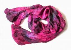 OOAK Silk scarf ruffled Hand Dyed Vinous Purple by Econicashop