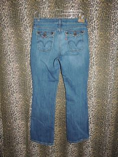 Levi Strauss 515 Stretch Boot Cut Whiskers Denim Flap Pocket Blue Jeans Size 8S #Levis #BootCut