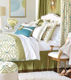 Bradshaw Collection from Eastern AccentsThere is timeless appeal in the elegance of geometric patterns. Bradshaw's appealing tones of teal, lime, and ivory are mirrored beautifully in a main fabric of embroidered 100% cotton. Stylized flowers and appliqued decorative pillows adorn this trendy homage to a classic aesthetic.