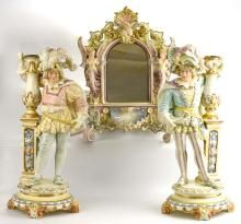 Hugo Lonitz pastel majolica lot of 3 pieces - wall