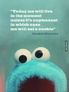 Cookie monster knows how to live