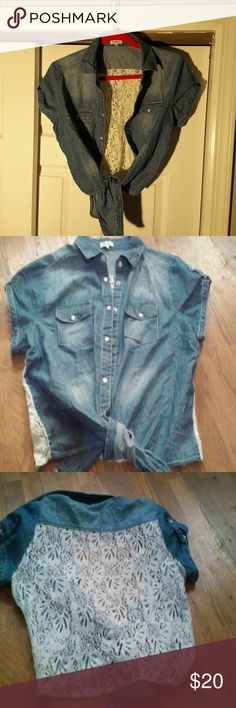 Denim and lace. Shirt Denim front lace back. Snap closure. Ties at waist excellent condition B envied Tops