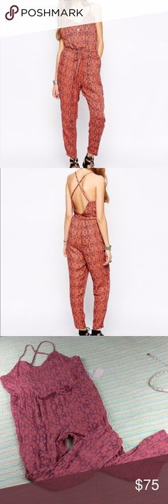 NWT Free People L Sunset Jumpsuit Tomato Combo NWT Free People Women's Size Large Sunset Jumpsuit Tomato Combo Trousers Romper Free People Pants Jumpsuits & Rompers