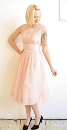 1950s Dress // Pink Swiss Dot Party Dress // by dethrosevintage, $89.00