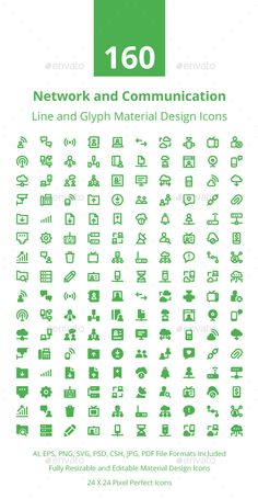 160 Network and Communication Icons Vector EPS, AI Illustrator