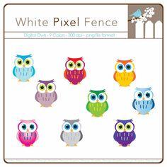 INSTANT DOWNLOAD Colorful owls - digital - 300dpi