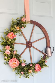 Farmhouse Wagon Wheel Spring Wreath via # Easy DIY beauty Wagon Wheel Farmhouse Style Wreath Tutorial - Lydi Out Loud Diy Spring Wreath, Spring Door Wreaths, Wreaths For Front Door, Diy Wreath, Spring Crafts, Wreath Ideas, Front Doors, Easter Wreaths, Tulle Wreath