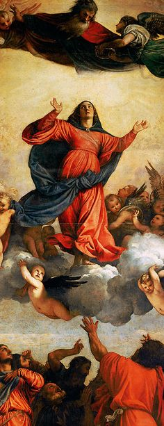 Titian (Tiziano Vecellio), c.1485/90?–1576, Italian, Assumption of the Virgin (detail), 1516-18. Oil on wood. Santa Maria Gloriosa dei Frari, Venice. High Renaissance.