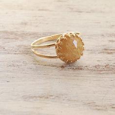 Yellow rutile quartz ring gemstone ring yellow quartz by Avnis-$32