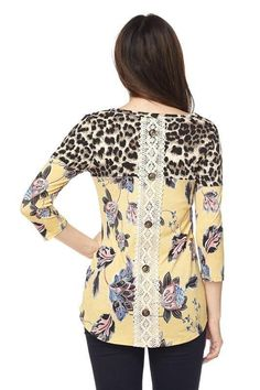 PLUS Leopard-floral tunic top with lace back and button detail