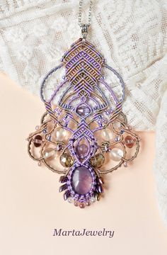 Micro-macrame necklace with the amethyst gemstone by MartaJewelry