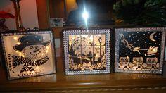 glasblokken met lichtjes en winter/ kerst afbeelding