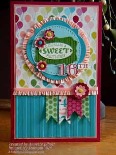 Birthday Card Ideas : Cycle Celebration stamp set, Memorable Moments stamp set, Birthday Basics DSP, r… 16th Birthday Card, Kids Birthday Cards, Handmade Birthday Cards, Greeting Cards Handmade, Birthday Wishes, Scrapbook Cards, Scrapbooking, Card Making Inspiration, Card Sketches