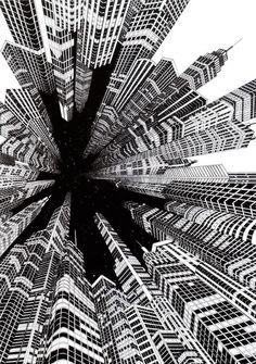 Fine line black ink hand drawn perspective cityscape illustration Escher Kunst, Arte Black, Illustration Art, Illustrations, Perspective Drawing, Principles Of Design, Black And White Illustration, Art Plastique, Poster Designs