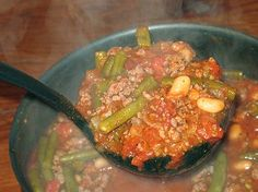 Closest thing to what we make.  I use frozen green beans, light red kidney beans, jimmy dean sausage, any broth flavor will do.  Good with sweet cornbread, rice, Fritos....